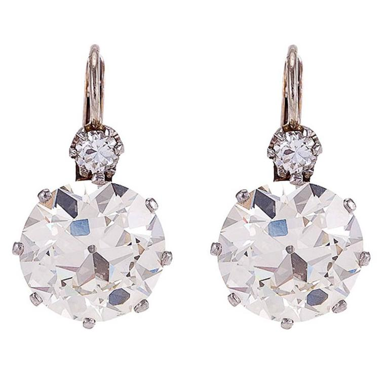 7.64 Carat Diamond Platinum Two-Stone Earrings