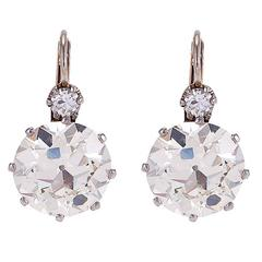 7.64 Carat Diamond Platinum Two-Stone Earrings