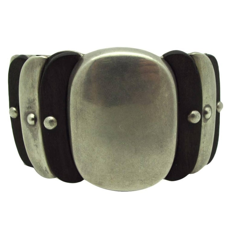 Spratling Native American Style Rosewood and Sterling Silver Cuff For Sale