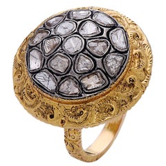 Hand-Carved Royal Looking Rose Cut Diamond Gold Ring