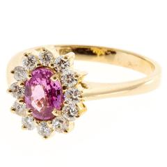 GIA Certified .75 Oval Natural Pink Sapphire Diamond Gold Engagement Ring