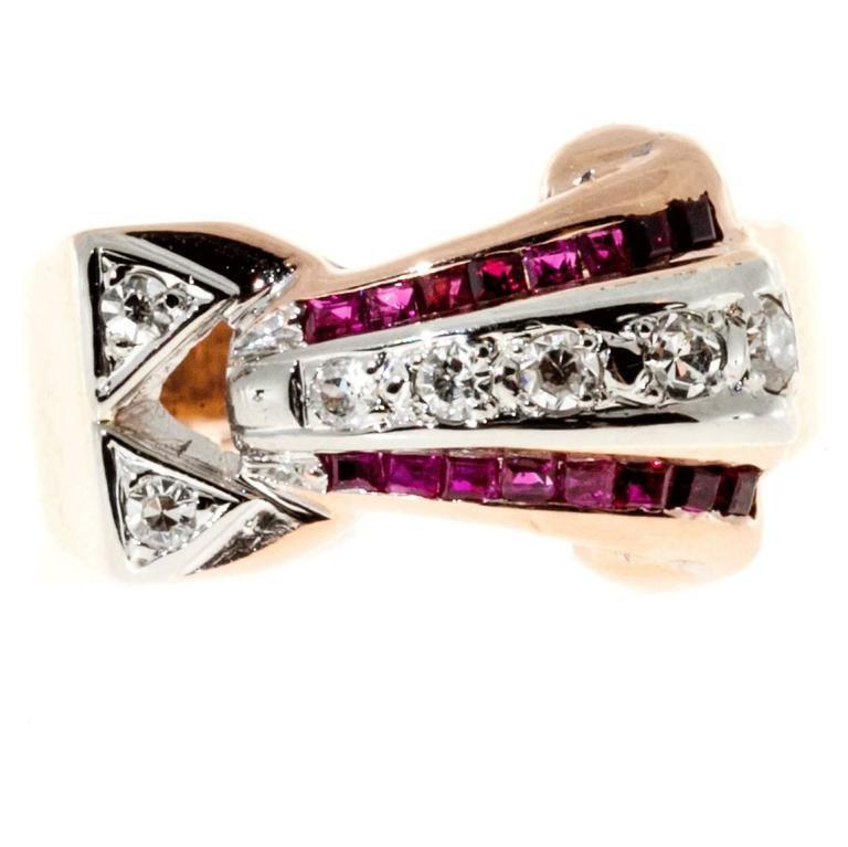 Ruby Diamond Gold Palladium Ring 1