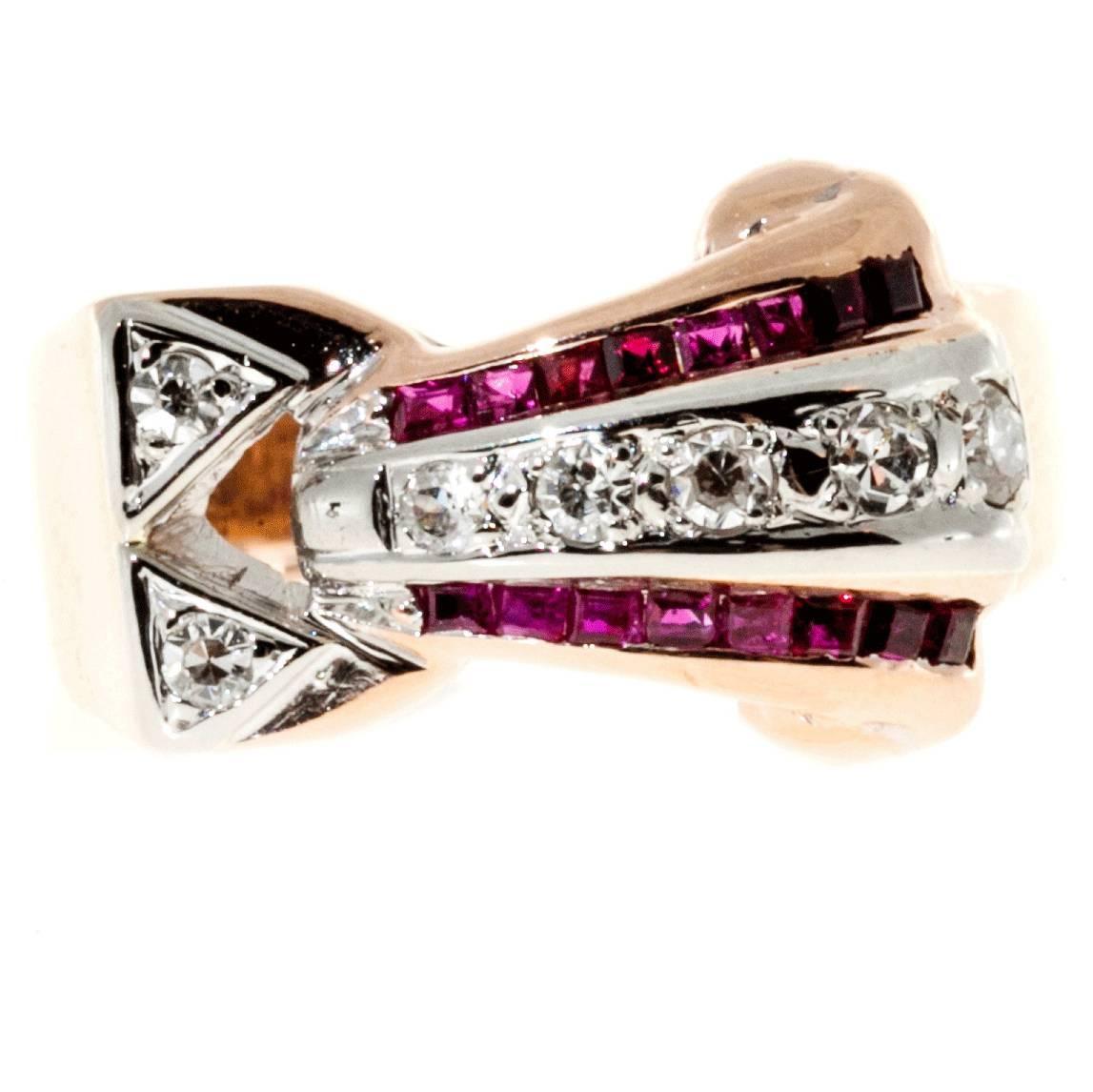 Ruby Diamond Gold Palladium Ring