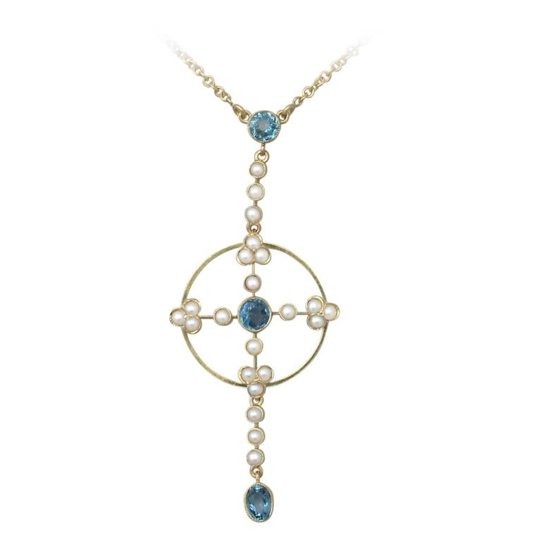 0.59Ct Aquamarine & Pearl, 15k Yellow Gold Pendant - Antique Victorian