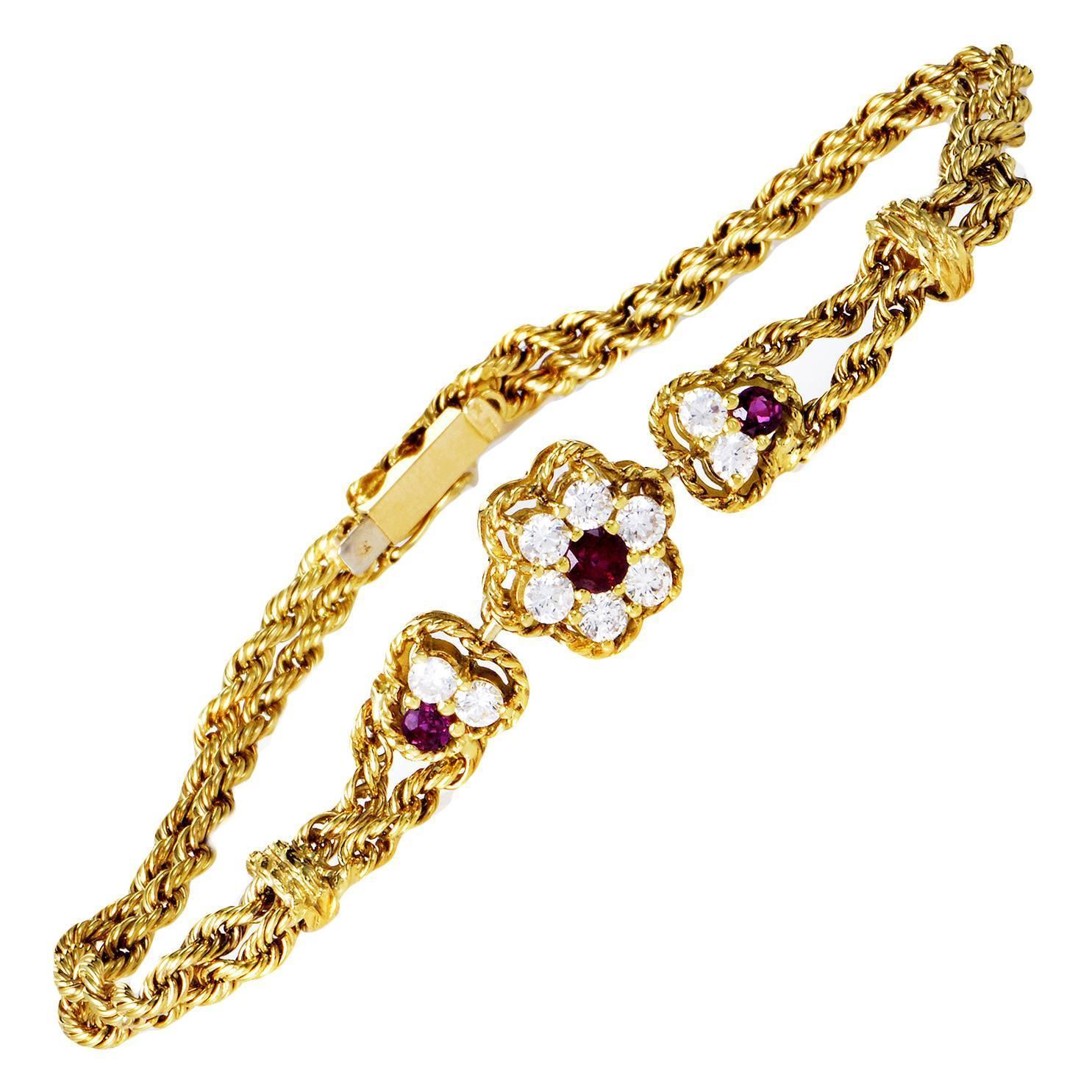 piaget ruby diamond gold floral bracelet at 1stdibs