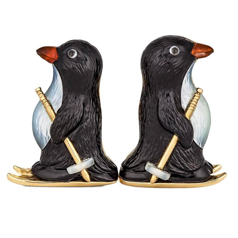 Carved Onyx, Mother-of-Pearl, Carnelian and Gold Skiing Penguin Cufflinks 1