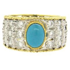 Buccellati Turquoise Diamond Gold Band Ring
