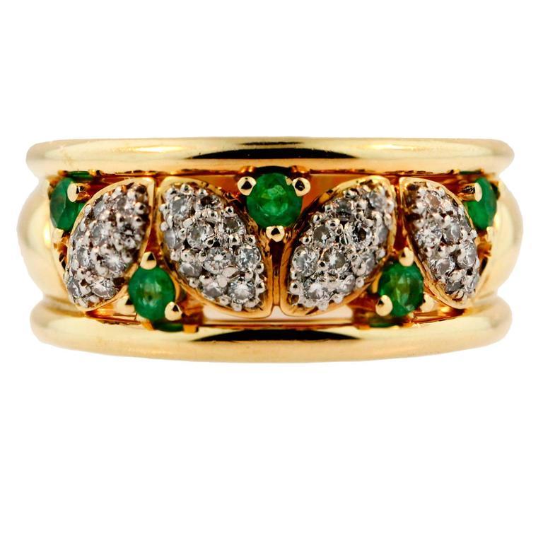 birks emerald gold platinum gold ring at 1stdibs