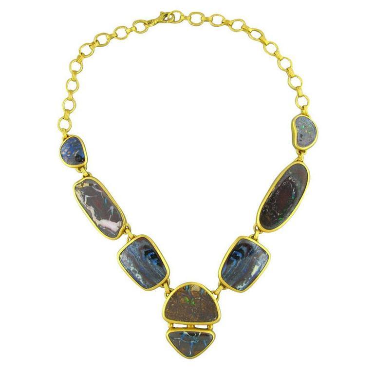 Impressive Gurhan Quilpie Boulder opal gold Necklace