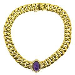 Massive Neiman Marcus Amethyst Diamond Gold Link Necklace