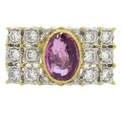 Buccellati Pink Sapphire Diamond Gold Ring