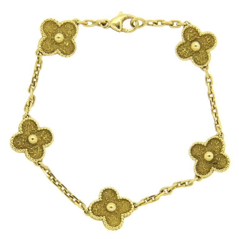 Van Cleef & Arpels Vintage Alhambra Gold Bracelet  1