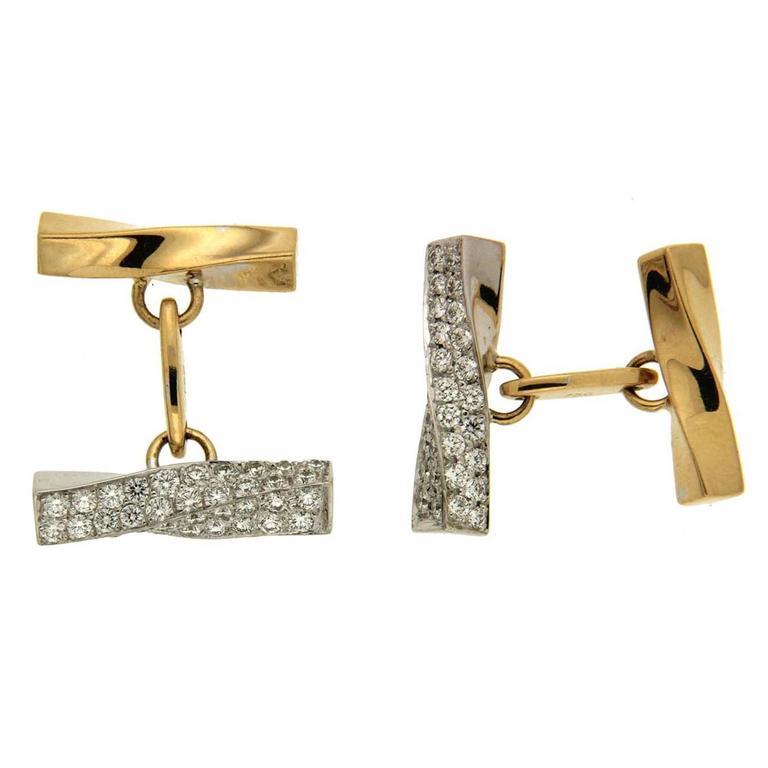 Valentin Magro Twisted Tube Diamond Gold Cufflinks