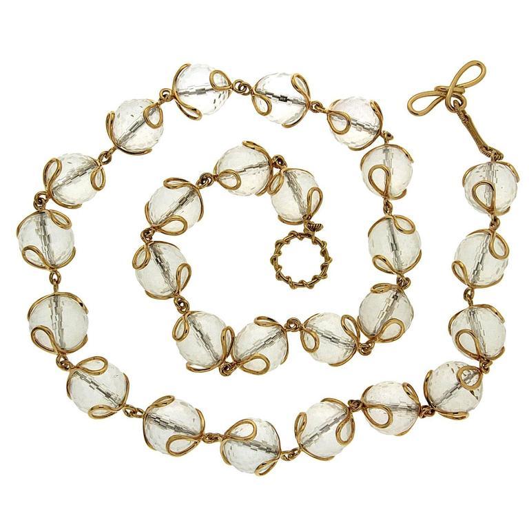 Carina Crystal Ball Gold Necklace
