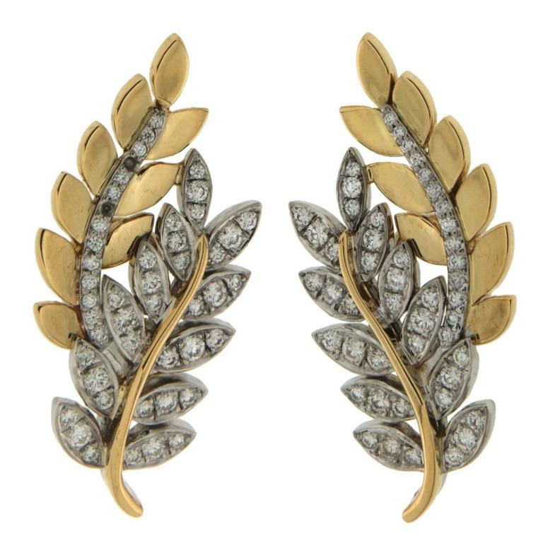 Olympia Diamond Gold Leaf Motif Earrings