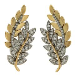 Olympia Diamond Gold Leaf Motif Earrings