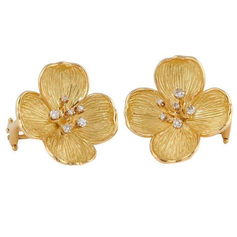 Gold Dogwood Flower Clip Earrings