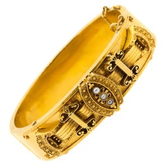 Victorian Pearl Gold Bangle Bracelet