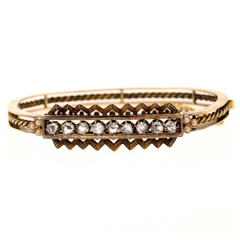 Victorian Rose Cut Diamond Gold Bangle Bracelet
