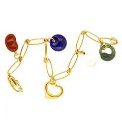 Tiffany & Co. Elsa Peretti Carved Gemstone gold Charm Bracelet