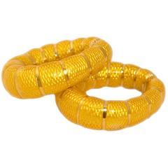Bulgari Enamel gold Hoop Earrings