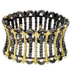 Stambolian Silver Gold Cleopatra Cuff Bracelet