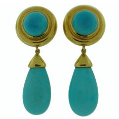 Tiffany & Co. Paloma Picasso Turquoise Gold dangle Earrings