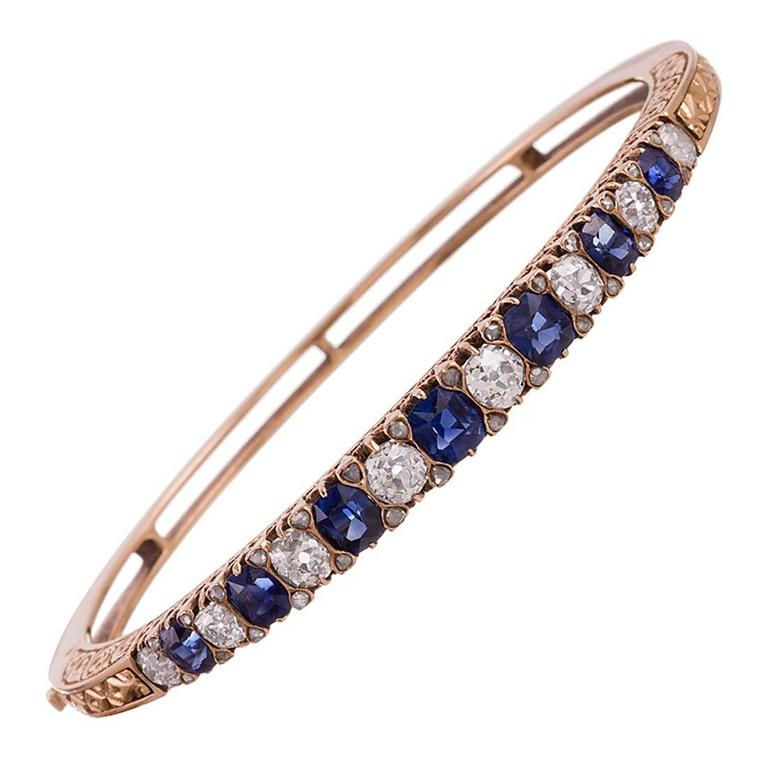 Victorian English Carved Sapphire Diamond Gold Bangle Bracelet