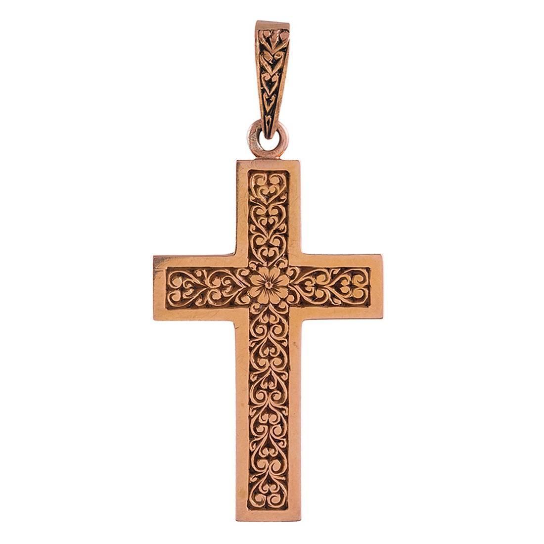 engraved floral motif gold cross pendant