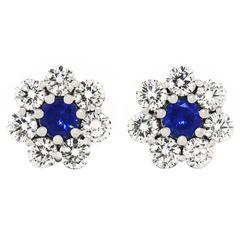 Lawrence Jeffrey Sapphire Diamond Platinum Fleurette Earrings