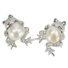 Beautiful Pair of South Sea Pearl Diamond Frog Brooch Pins