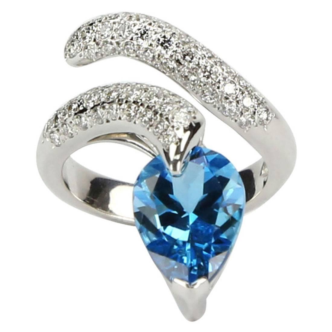 Swiss Blue Topaz and Diamond Gold Snake Serpent Ring Estate Fine Jewelry