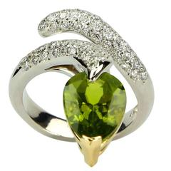 Peridot Diamond Gold Snake Ring