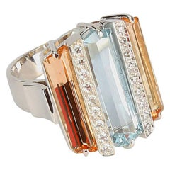 Coach House Aquamarine Topaz Diamond Gem Set Comet Gold Statement Ring