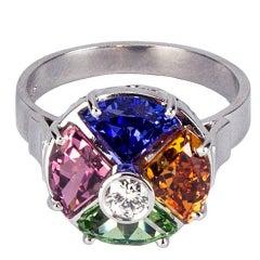 Tourmaline Tanzanite Tsavorite and Mandarin Garnet Gemstone Diamond Gold Ring