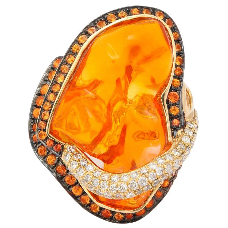 Mexican Opal Orange Sapphire Diamond Gold Ring 1