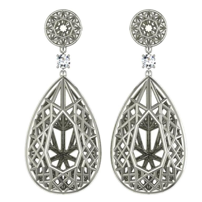 Sayaka Yamamoto & Sparkles Diamond and Gold Drop Earrings