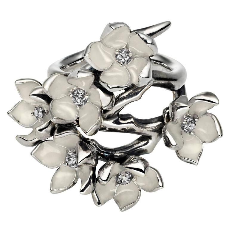 Shaun Leane silver diamond full cherry blossom ring