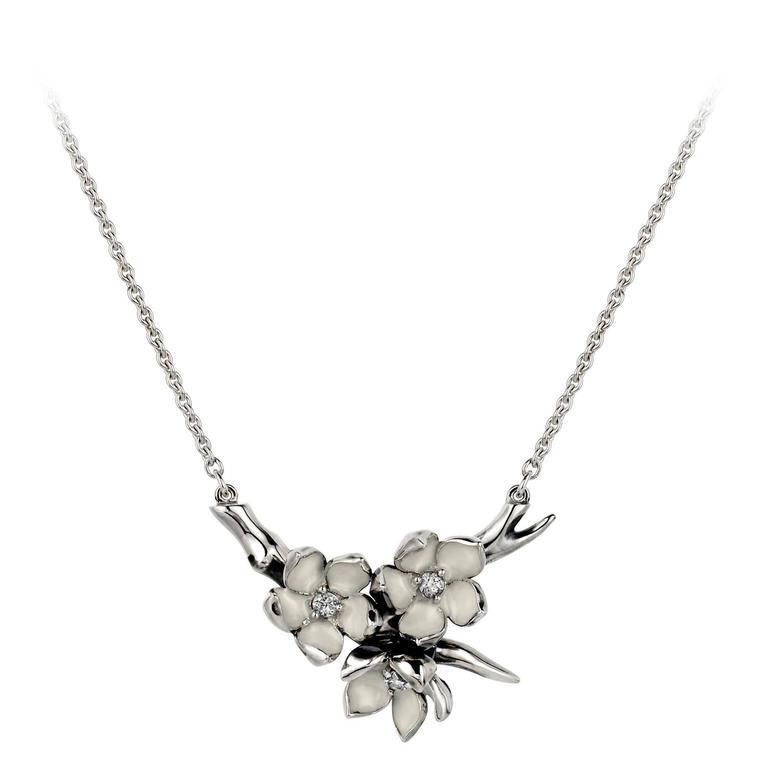 Shaun Leane White Enamel Diamond Silver Cherry Blossom Pendant Necklace