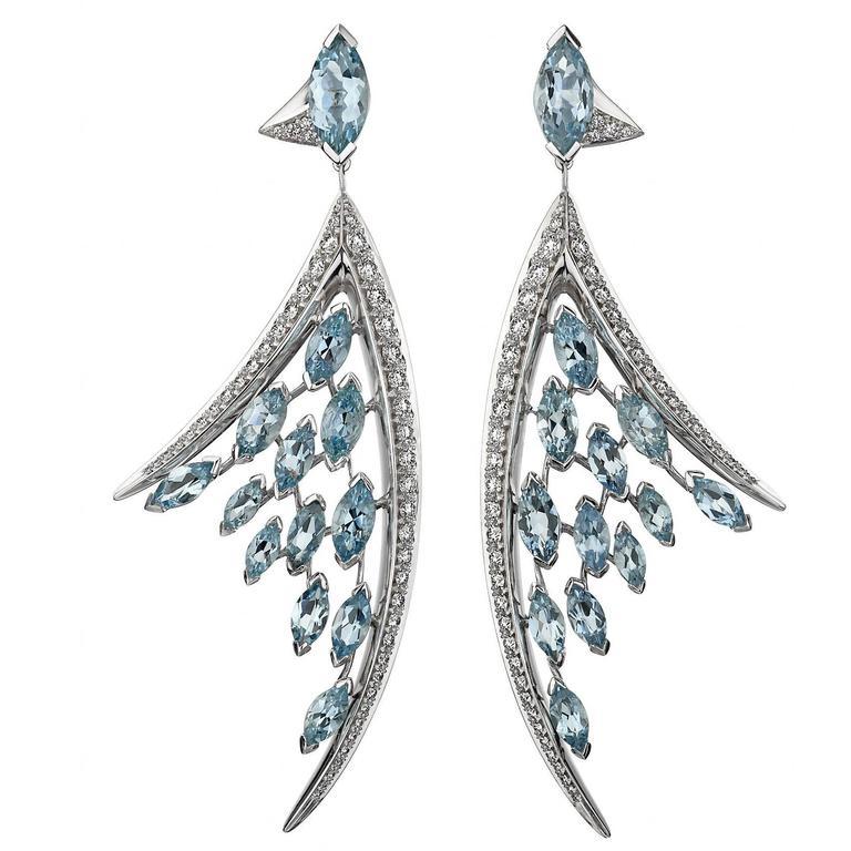 Shaun Leane Large Aquamarine Diamond Gold Ariel Earrings 1