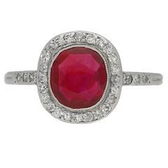1920s Boucheron Natural Burmese ruby diamond platinum cluster ring
