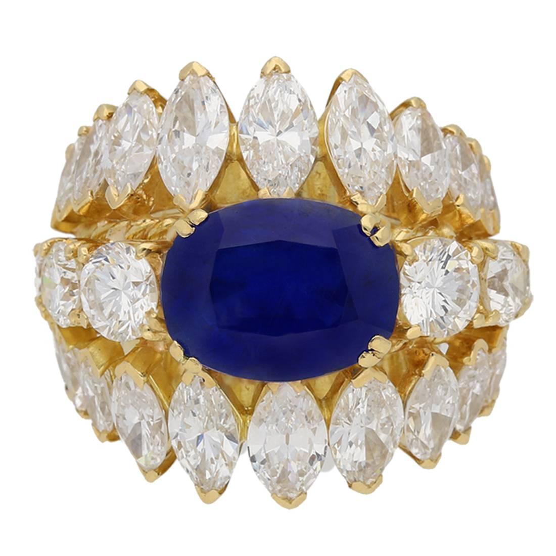 1960s Natural unenhanced Burmese sapphire diamond gold ring
