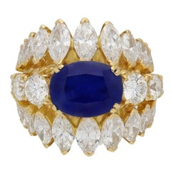 1960s Natural unenhanced Burmese sapphire diamond gold ring