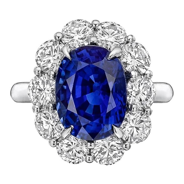 5 45 Carat Sapphire Diamond Cluster Ring For Sale At 1stdibs