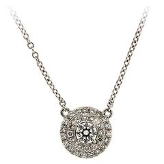 Diamond Coil Double Halo Pendant Neckalce