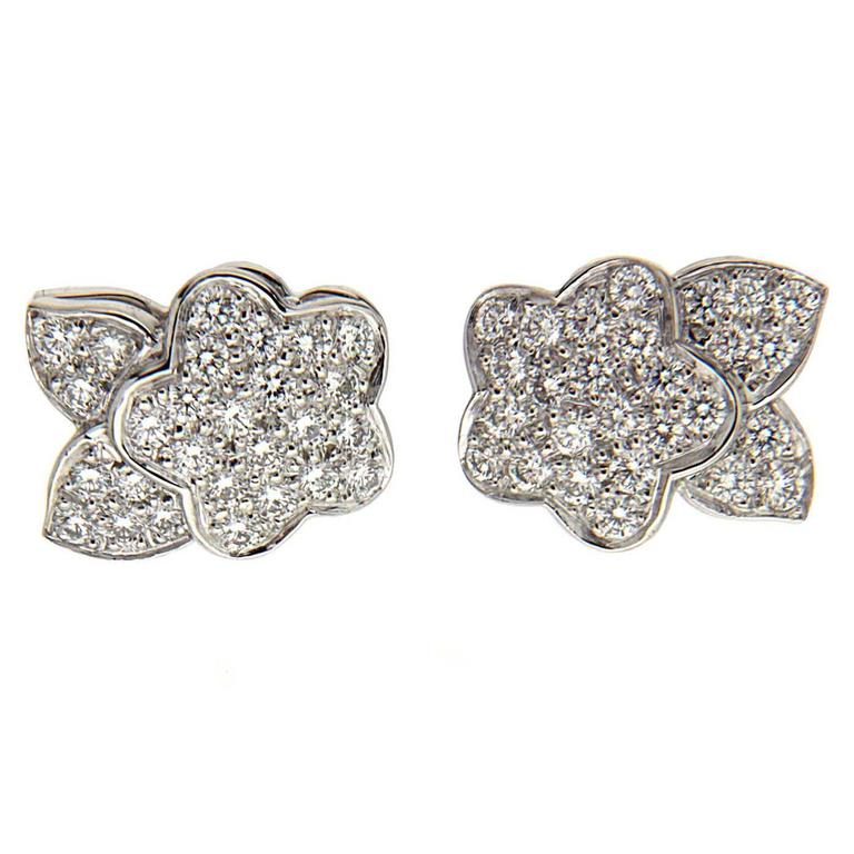 Pave Flower and Leaf Diamond Platinum Earrings