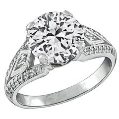 Stunning 2.29 Carat Diamond Platinum Engagement Ring