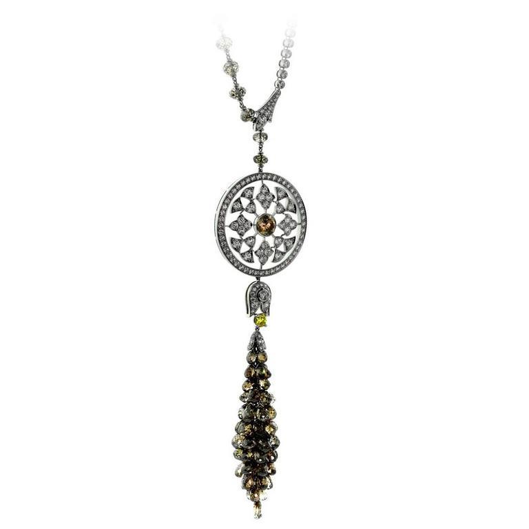 Cartier Surya 58 Carat Diamonds Platinum Necklace For Sale