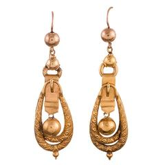 Victorian Buckle Motif Drop Earrings