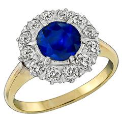 Antique 1.40ct. Sapphire Old Mine Cut Diamond Cluster Ring